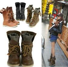 Women Soft Leather Ankle Boots Ladies Lace Up Punk Goth Military Mid Calf Shoes