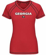 Ladies Georgia Bulldogs Synthetic V-Neck Extracurricular Performance Shirt by Ma