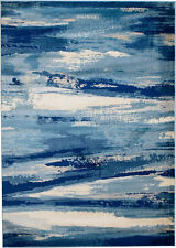 NEW (#408) MODERN BLUE ABSTRACT AREA RUG; APROX SIZES: 2X3, 2X7, 4X5 & 5X7