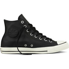 Converse Chuck Taylor All Star Hi Black Leather Trainers Shoes