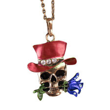 Unisex Jewelry Halloween Party Skull Flower Pendant Chain Necklace Gift Frugal