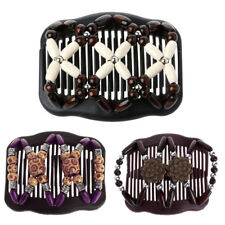 Magic Wood Beads Double Hair Comb Clip Stretchy Women Hair Accessories Easy