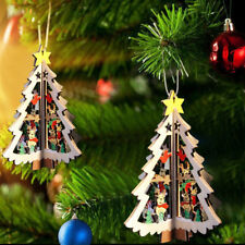 3D Xmas Tree Pendants Hanging Wooden Christmas Decoration Home Party Decoration