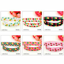 "5 10 Yds 7/8""  Grosgrain Pineapple Watermelon Printed Pattern Ribbon Craft Decor"