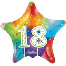 New 18th Balloon Happy Candles Birthday Star MultiColor Decor Balloons 18 Inch