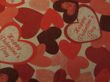 "VALENTINE'S DAY PINK RED HEARTS VINYL TABLECLOTH FLANNEL BACK 52"" X 90"""