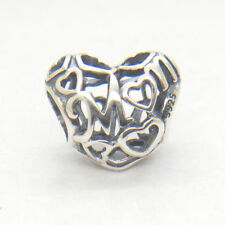 Genuine Authentic S925 Sterling Silver Openwork Mum Love Heart Charm