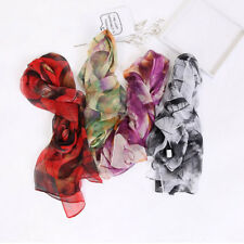 Womens Flower Print Cotton Long Scarf Wrap Lady Large Shawl Silk Scarves Stole
