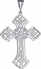 Large Sterling Silver Cross without Jesus Pendant Necklace with Diamond Cuts