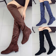 Women Winter Over The Knee High Boots Block Heel Suede Boots Thigh Stretch Shoes