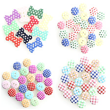 25 WOODEN PATTERNED BUTTONS Choice of Gingham Polka Dot Star in Assorted Colours