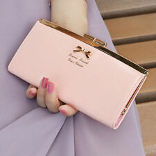 Lady PU Leather Bowknot Button Hand Bag Bifold Long Clutch Wallet Purse Women.#