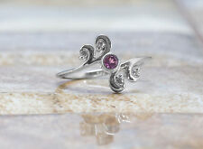 925 Sterling Silver Ring with Natural Red Rhodolite Gemstone in Bezel Settings