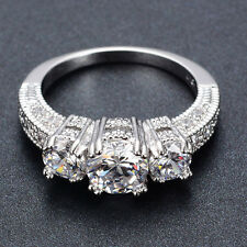 Size 6-9 White Sapphire Silver Wedding Ring 10KT White Gold Filled Jewelry Hot P