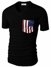 #CMTTS0173 H2H Men Casual V-neck Short Sleeve T-shirts W/ American Flag Chest