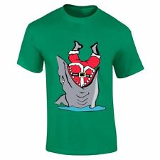 Mens Boys Claus In Fish Mouth Christmass Top Casual Tee Printed Lot Gym T Shirt