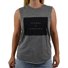 Women's Thrills Front Block Muscle Tee Shirt Top Grey Marle