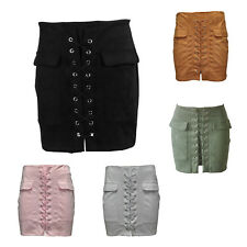 FP Women's Autumn Vintage Sexy Lace Up Suede Leather Skirt Preppy Pocket Bodycon