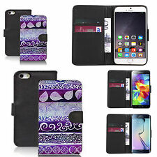 faux leather wallet case for many Mobile phones - purple desire print