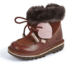Kickers Kick Fur Wallee I Dark Tan Suede Infant Ankle Boots