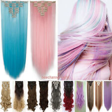 Real Thick Clip in Hair Extensions 8 Piece Full Head Straight Curly Pink Blue US