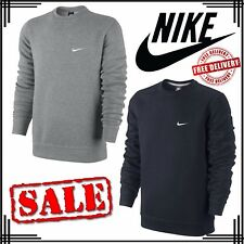 Nike Mens Crew Neck Club Fleece Tops Swoosh Jumper Sweatshirt Black Grey UK Size