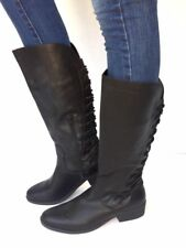 Women's Fashion Low Heel Mid-Calf Knee High Slouch Riding Boots Shoes-Black