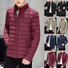 Men's Winter Slim Stand Coats Outwear Long Sleeve Zip Warm Collar Jackets XS-2XL