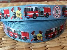"1, 3, or 5 yards FIRE DEPARTMENT 7/8"" grosgrain ribbon- FLAT RATE SHIPPING"