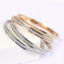 New Women Fashion Simple Style Silver/Gold Plated Bangle Cuff Bracelet Jewelry Q