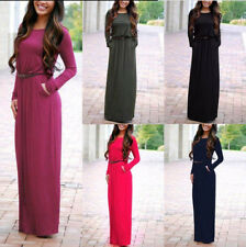 Stylish Womens Casual Long Sleeve Belted Party Evening Cocktail Long Maxi Dress