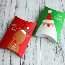 10 Christmas Pillow Gift Box Party Paper Favour Gift Cupcake Lunch Carrier Boxes