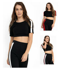 NEW WOMENS LADIES TOP BRA SHORT CROP STRIPE VEST PARTY CAUSAL T-SHIRT FITTED TOP