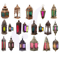 Clear Glass Bronze Effect Moroccan Antique Style Fretwork Standing Lantern