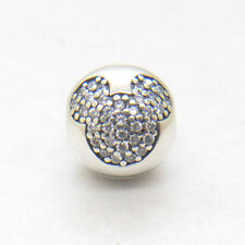Authentic Genuine S925 Sterling Silver Mickey Pave Clip Charm Bead