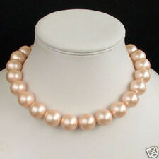14mm Round Beads South Sea Shell Pearl Necklace Women Ladies Jewelry 18""