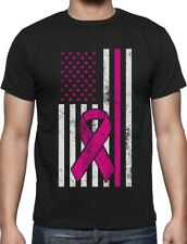 Breast Cancer Awareness USA Flag Pink Ribbon Support T-Shirt Fight