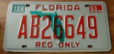 Florida REG ONLY License Plate, 93 Tag Expired Free Shipping