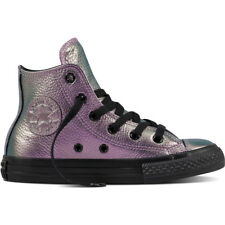 Converse Chuck Taylor All Star Hi Violet Leather Junior Trainers Shoes