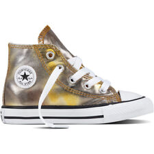 Converse Chuck Taylor All Star Hi Silver/Gold Textile Baby Trainers Shoes