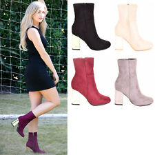 New Womens Ladies Ankle Boots High Block Heel Slide Zip Casual Shoes Sizes 3-8