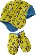 Boys Girls Minions Hat Mittens Set Despicable Me Winter Kids Age 1-6
