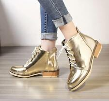 Womens Ladies Lace Up Shiny Ankle Boots Chelsea Round Toe Chunky Heel Shoes SZ