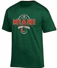 Miami Hurricanes Green Football Short Sleeve T Shirt by Champion