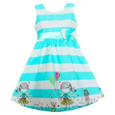 Girls Blue Striped Bow Dresses Party Holiday Pageant Kids Child Clothes