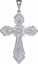 Large Heavy Sterling Silver Cross without Jesus Pendant Necklace 3.5 Inches