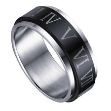 High Polished Stainless Steel Ring Black Silver Men Women Roman Numerals Gift