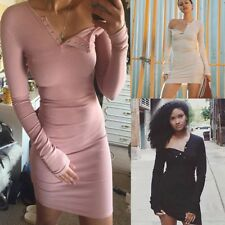 Sexy Women Long Sleeve One Off Shoulder Button Bodycon Solid Color Mini Dress