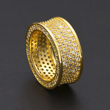 18k Gold Plated Band Micropave CZ AAA Crystal Men's Iced Out Pinky Ring HIP HOP