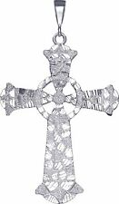 Huge Heavy Sterling Silver Celtic Cross without Jesus Pendant Necklace 4.5 Inch